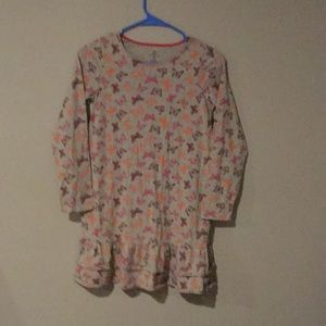 Lands' end grey and pink butterfly dress